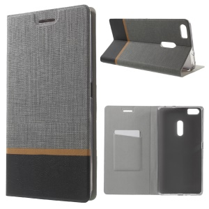 Contrast Color Cross Texture Leather Stand Cover for Asus Zenfone 3 Ultra ZU680KL - Grey