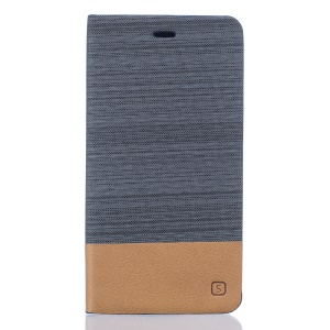 Two-color Linen Texture Leather Stand Case for Asus Zenfone 3 Deluxe ZS570KL - Dark Grey