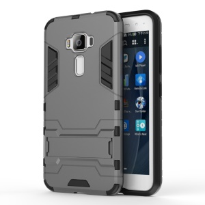 Solid PC + TPU Hybrid Shell Case with Kickstand for Asus Zenfone 3 ZE520KL - Grey