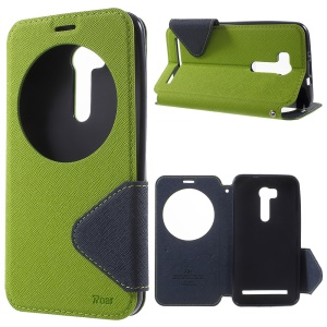 ROAR KOREA Bi-Color Window Leather Protective Cover for Asus ZenFone Go/Go TV ZB551KL - Green