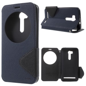 ROAR KOREA View Window Leather Stand Case for Asus ZenFone Go/Go TV ZB551KL - Dark Blue
