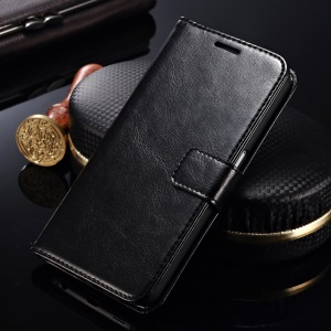 Crazy Horse Leather Wallet Case for Asus Zenfone 4 A400CG - Black