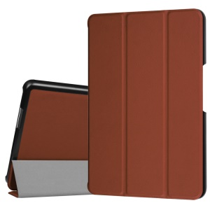 Tri-fold Stand Leather Protective Cover for Asus ZenPad Z8 ZT581KL - Brown