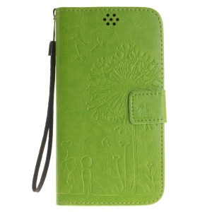 Dandelion and Lovers Wallet Leather Protective Case for Asus Zenfone 2 ZE550ML ZE551ML - Green