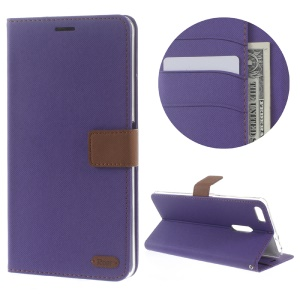 ROAR KOREA Twill Grain Wallet Leather Stand Case for Asus Zenfone 3 Ultra ZU680KL - Purple