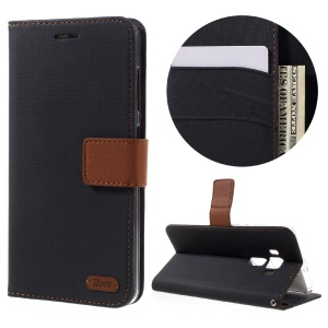 ROAR KOREA for Asus Zenfone 3 Deluxe ZS570KL Twill Grain Wallet Leather Phone Cover - Black