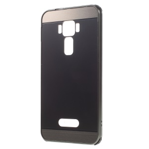 Slide-on Brushed PC Plate + Metal Bumper Hybrid Case for Asus Zenfone 3 ZE520KL - Black