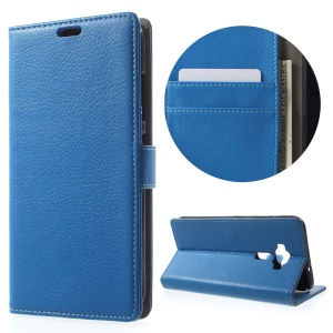 Litchi Skin Magnetic Leather Stand Cover for Asus Zenfone 3 ZE520KL - Blue