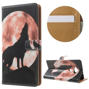 Patterned Wallet Stand Leather Case for Asus Zenfone 3 ZE552KL - Wolf Howling at the Moon