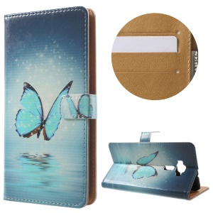 Patterned Leather Cover Case for Asus Zenfone 3 ZE552KL - Blue Butterfly on the Water