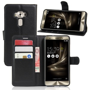 Litchi Skin Leather Wallet Case for Asus Zenfone 3 Deluxe ZS570KL - Black