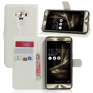 Litchi Skin Leather Wallet Cover for Asus Zenfone 3 Deluxe ZS570KL - White