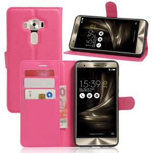Litchi Skin Leather Wallet Cover Case for Asus Zenfone 3 Deluxe ZS570KL - Rose