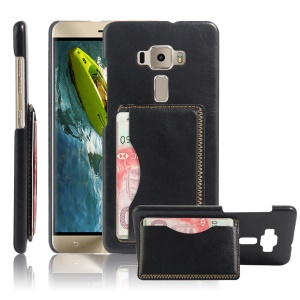 Retro Leather Coated Hard Case with Card Slot for Asus Zenfone 3 ZE552KL - Black