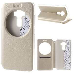 For Asus Zenfone 3 ZE552KL Smart Circle View Leather Cover Cross Texture - Gold