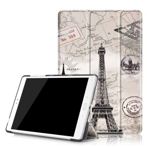Patterned Smart Leather Stand Cover for Asus Zenpad 3S 10 Z500M - Eiffel Tower and Map
