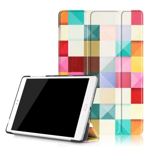 Tri-fold Leather Smart Cover for Asus Zenpad 3S 10 Z500M - Colorful Triangles Grids