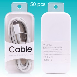 50Pcs Data Cable Crystal PC Package Box Customizable, Size: 81 x 38 x 15mm - White