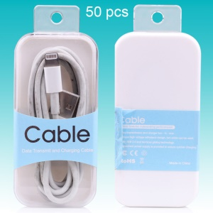 Customizable 50Pcs USB Cable Crystal Retail Packaging Box, Size: 81 x 38 x 15mm - Blue
