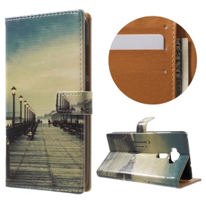 Diary Style Patterned Magnetic Leather Wallet Stand Shell for Asus Zenfone 3 ZE520KL - Dock at Sunset