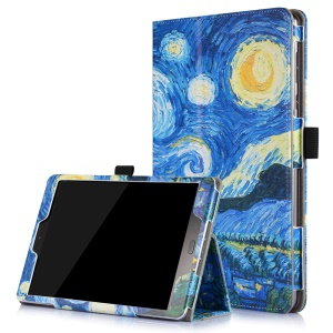 Patterned Flip Stand Leather Case for Asus Zenpad 3S 10 Z500M with Inner Frame - Starry Sky