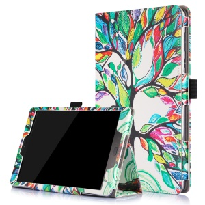 Patterned Flip Stand Leather Cover for Asus Zenpad 3S 10 Z500M with Inner Frame - Colorized Tree