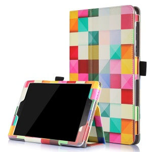 Patterned Flip Stand Leather Protective Case for Asus Zenpad 3S 10 Z500M with Inner Frame - Colorful Grids