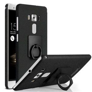 IMAK Matte Hard Plastic Case with Ring Kickstand for Asus Zenfone 3 Deluxe ZS570KL - Black