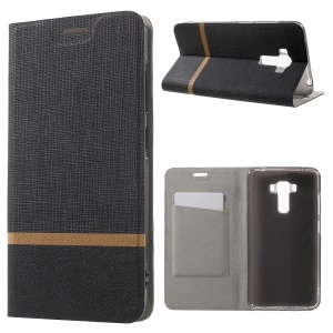 Cross Texture Leather Card Holder Case for Asus Zenfone 3 Laser with Stand - Black