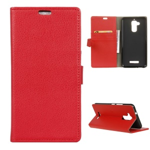 Litchi Grain Wallet Leather Cover Stand for Asus Zenfone 3 Max ZC520TL - Red