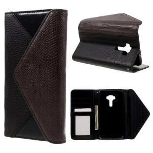 Bi-color Envelope Style Wallet Leather Stand Case with Lanyard for Asus Zenfone 3 ZE552KL - Brown / Black
