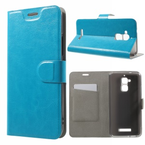 Crazy Horse Card Holder Leather Case for Asus Zenfone 3 Max Built-in Steel Sheet - Blue