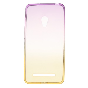 Rainbow Gradient TPU Clear Cover for Asus Zenfone 5 A500KL/A500CG - Purple / Yellow