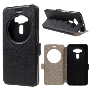 Window View Sand-like Leather Case for Asus Zenfone 3 Deluxe ZS570KL - Black