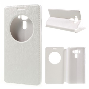 Hollow View Window Leather Cover for Asus Zenfone 3 Laser ZC551KL - White
