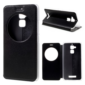 Hollow View Window Leather Case for Asus Zenfone 3 Max ZC520TL - Black