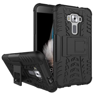 Skid-proof PC + TPU Hybrid Case with Kickstand for Asus Zenfone 3 ZE520KL - Black
