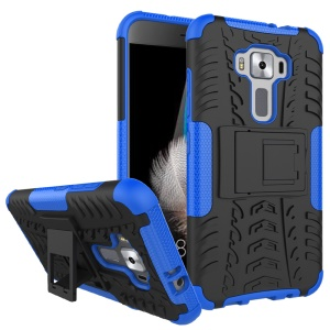 Skid-proof PC + TPU Hybrid Back Case with Kickstand for Asus Zenfone 3 ZE520KL - Blue
