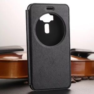 For Asus Zenfone 3 ZE520KL Smart Leather Case with Hollow View Window - Black