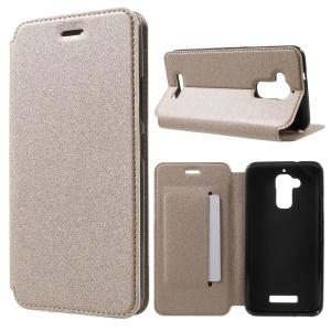 Sand-like Texture Flip Leather Stand Shell for Asus Zenfone 3 Max ZC520TL - Gold