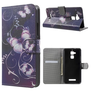 Patterned Leather Wallet Cover for Asus Zenfone 3 Max ZC520TL - Purple Butterflies Vines