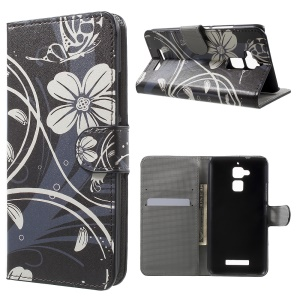 Magnetic Leather Wallet Stand Cover for Asus Zenfone 3 Max ZC520TL - Butterfly Flower