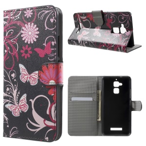 Patterned Leather Wallet Protection Case for Asus Zenfone 3 Max ZC520TL - Floral Butterflies