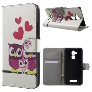 Pattern Printing Leather Stand Cover for Asus Zenfone 3 Max ZC520TL - Sweet Owl Family