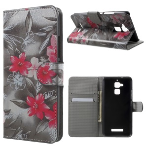 PU Leather Cover Card Holder for Asus Zenfone 3 Max ZC520TL - Red Blooming Flowers