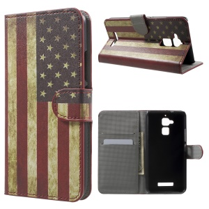 Wallet Stand Leather Cover for Asus Zenfone 3 Max ZC520TL - Vintage US American Flag