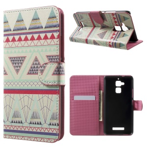 Magnetic Flip Leather Wallet Case for Asus Zenfone 3 Max ZC520TL - Tribal Triangles