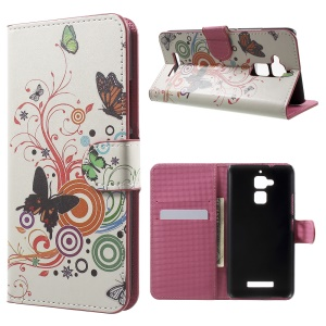 Pattern Printing Leather Case for Asus Zenfone 3 Max ZC520TL - Butterflies and Circles