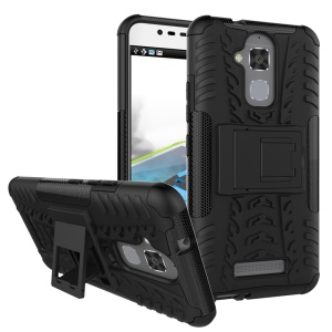 Tire Pattern Hybrid PC + TPU Kickstand Case for Asus Zenfone 3 Max ZC520TL - Black