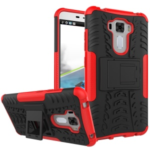 Tire Pattern Hybrid PC + TPU Shield Case for Asus Zenfone 3 Laser ZC551KL - Red